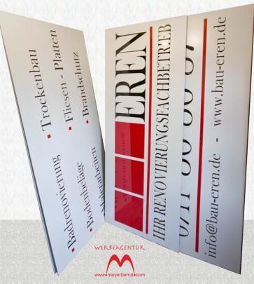 Neue Dibond Werbeschilder für Bau Eren zur Beschriftung des Firmengebäudes.