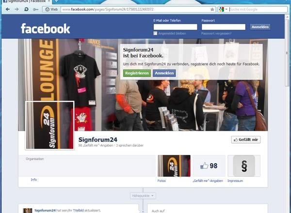 Signforum24 auf facebook
