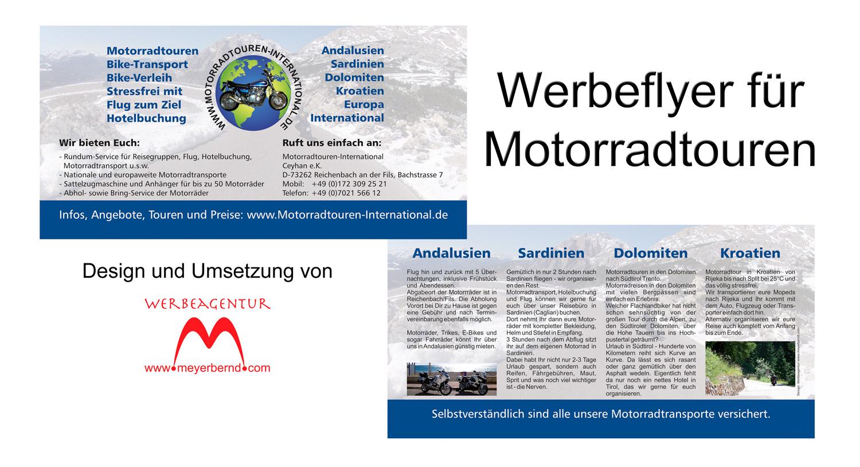 Flyer für den Veranstalter Motorradtouren International geliefert