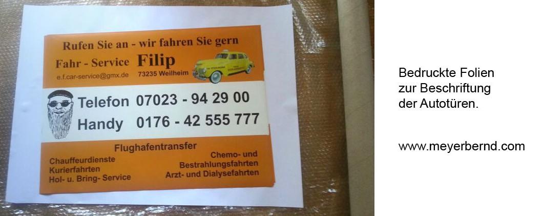 Autobeschriftung für Fahr Service Filip in Hepsisau bei Weilheim