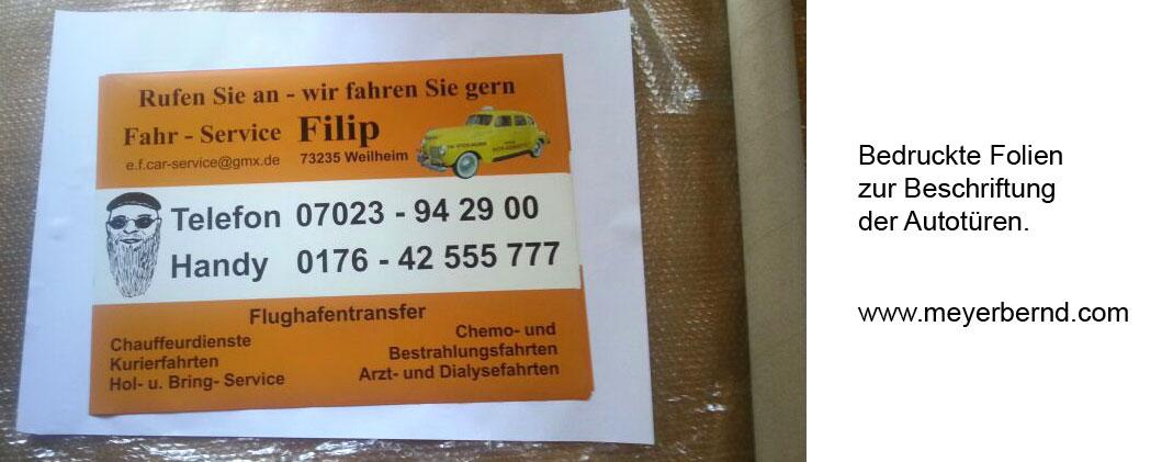 Autobeschriftung für Fahr Service Filip