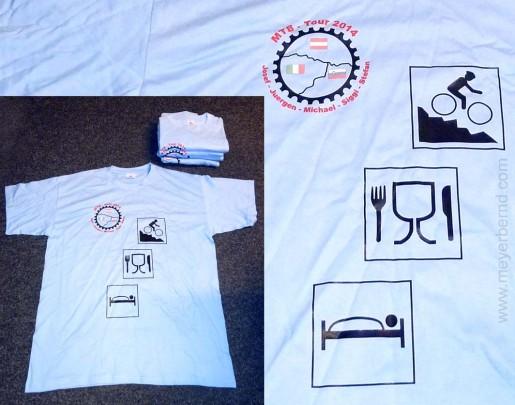 Bedruckte T-Shirts für Teilnehmer einer Mountainbike-Tour. Mit Logos für Radfahren, Essen, Trinken, Schlafen in Italien, Österreich und Slowenien (siehe Landkarte).