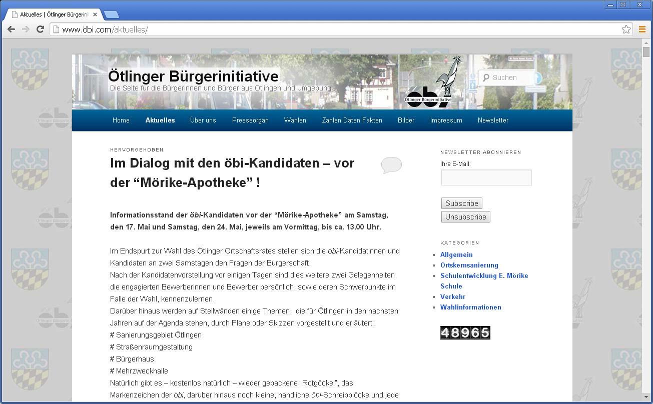 Website für Ötlinger Bürgerinitiative öbi erstellt