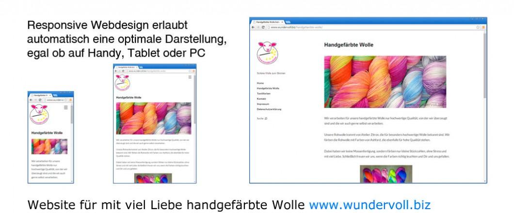 Neue responsive Website für mit viel Liebe handgefärbte Wolle www.wundervoll.biz