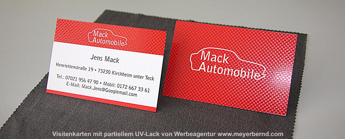 Visitenkarten mit partiellem UV-Lack für Mack Automobile