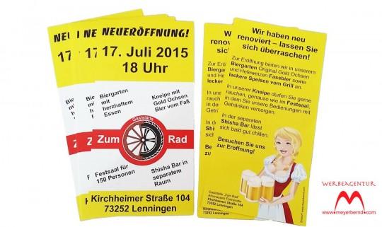 """Flyer zur Neueröffnung der Gaststätte """"Zum Rad"""" in Lenningen"""