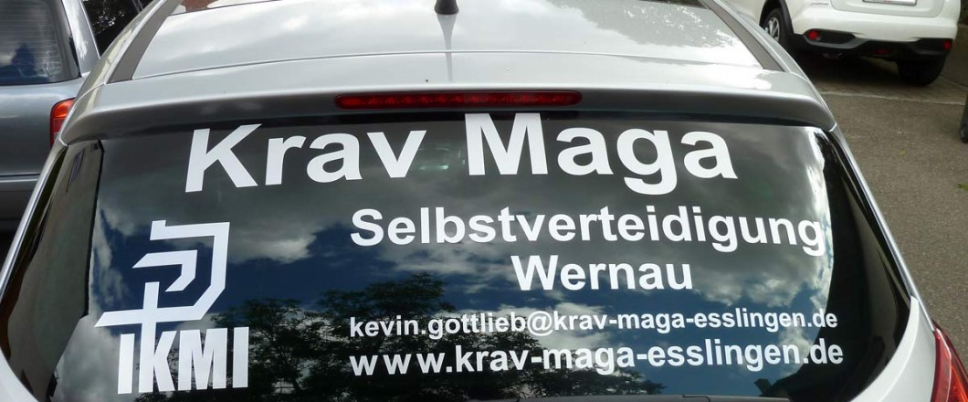 Heckscheibenbeschriftung Krav Maga
