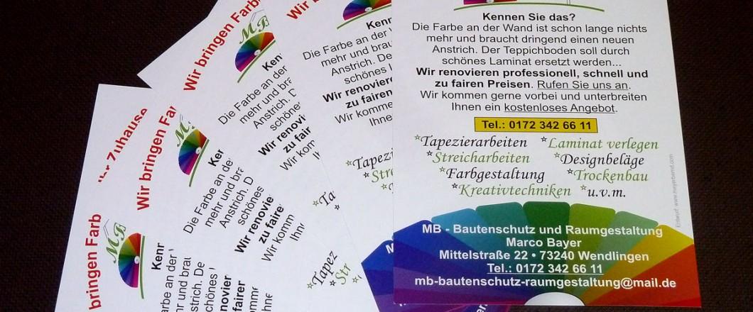 Werbeflyer für MB Bautenschutz und Raumgestaltung in Wendlingen