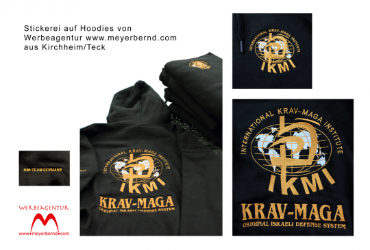 Bestickte Hoodies mit Krav-Maga Motiv vorn, hinten und am Ärmel
