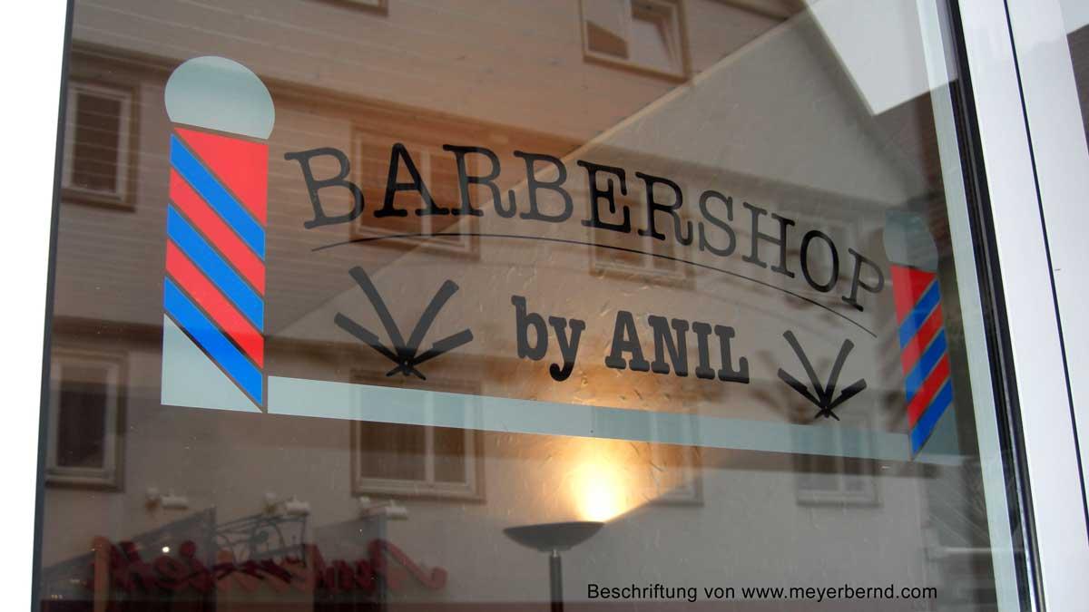 Fensterbeschriftung für Barbershop Anil in Kirchheim / Teck