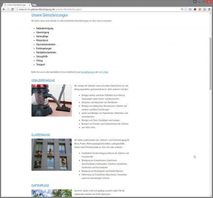 Seite mit Dienstleistungen der M-M Gebäudereinigung aus Wendlingen
