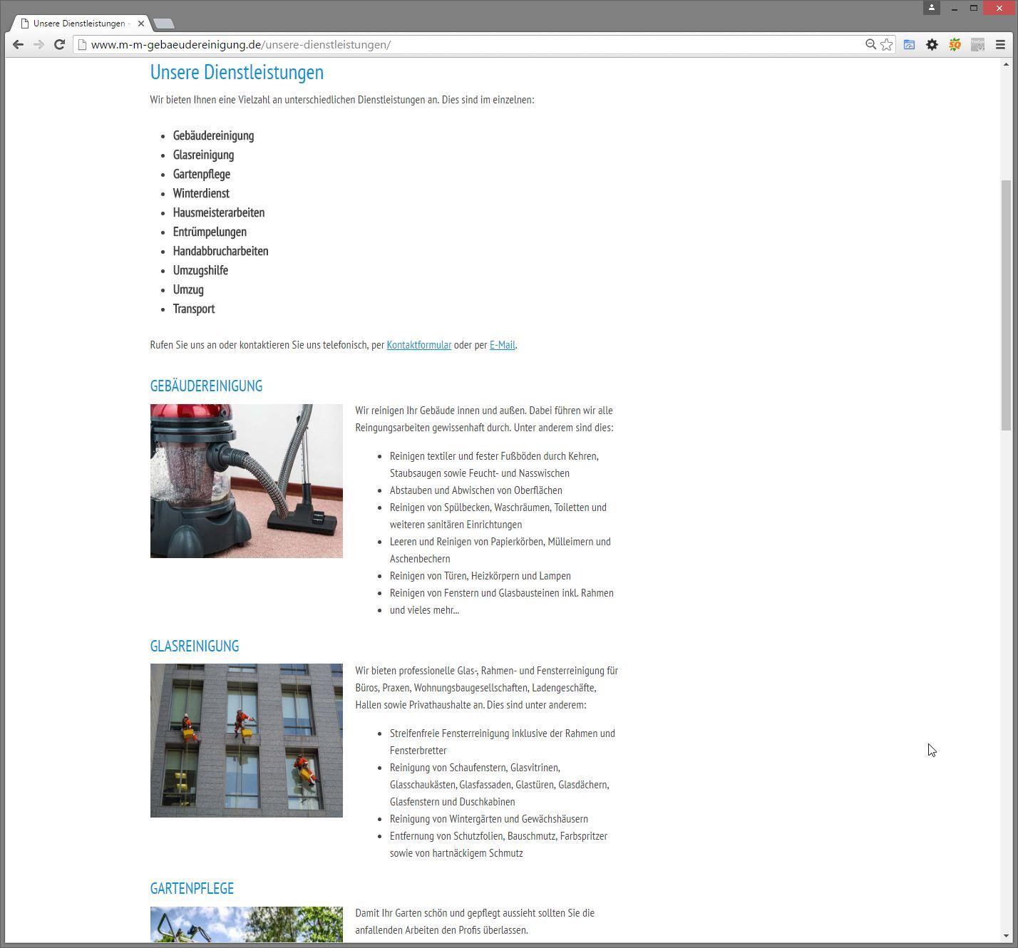 M-M Gebäudereinigung aus Wendlingen – Website überarbeitet