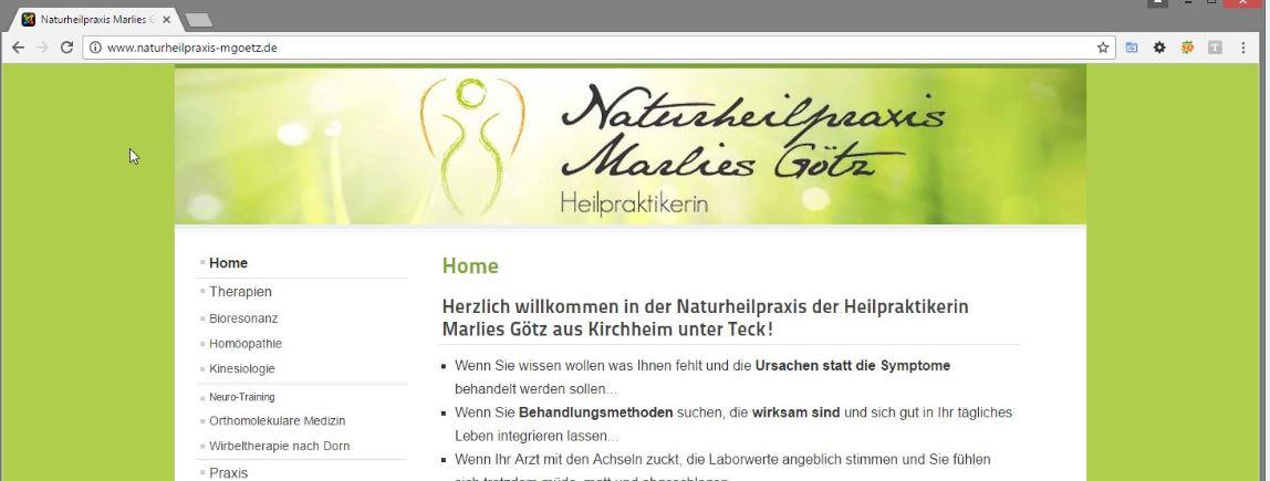 Naturheilpraxis Marlies Götz aus Kirchheim / Teck – Website erneuert