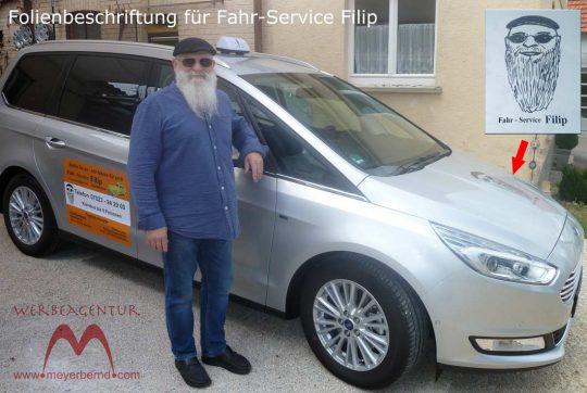 Autobeschriftung für Fahr-Service Filip in Hepsisau mit gedruckten Folien auf den Seeitentüren und Folienschnitt auf derVorderhaube