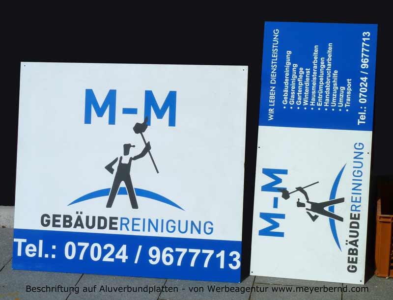 Beschriftung von Aluverbundplatten für die M-M Gebäudereinigung in Wendlingen am Neckar