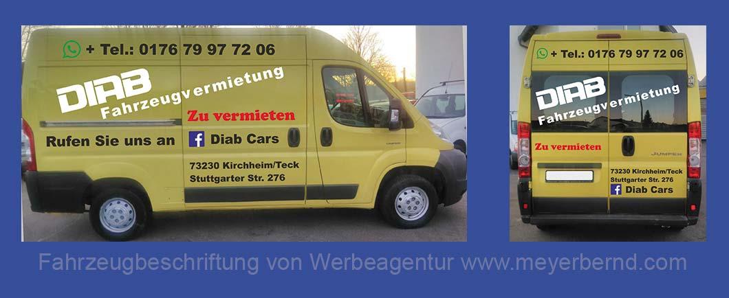 Kleinbus-Beschriftung für Fahrzeugvermietung DIAB
