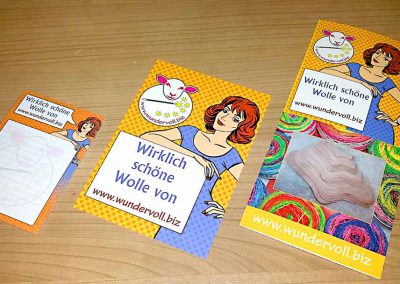 Werbung mit Block, Postkarte und Folder (Faltprospekt) von Wundervoll.biz 20018
