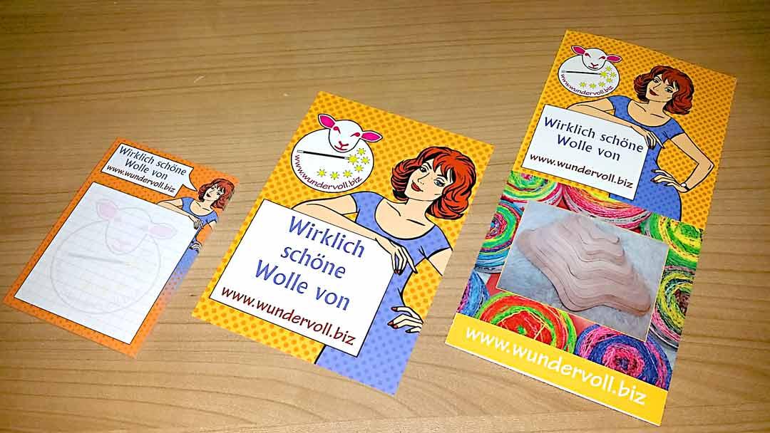 Druckdesign und Drucksachen machen wir. Hier: Flyer, Folder und Postkarten für www.wundervoll.biz