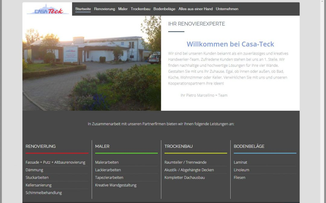 Website www.Casa-Teck.de angepasst und aktualisiert