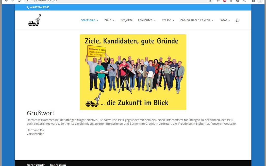 Neue Website für die Ötlinger Bürgerinitiative öbi – rechtzeitig vor der Ortschaftsratswahl