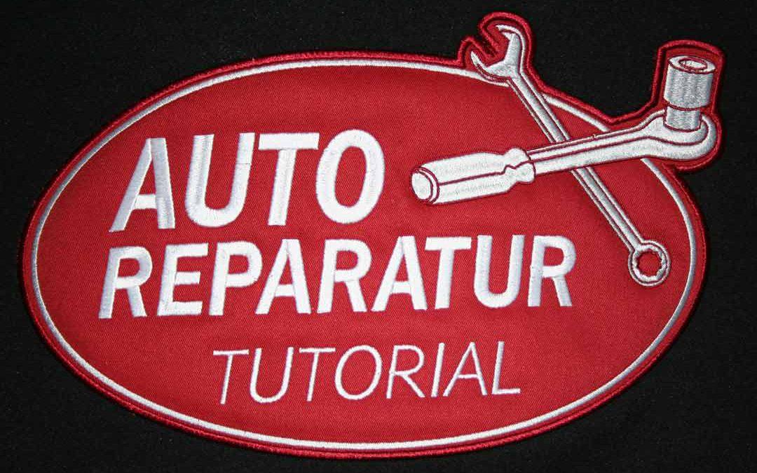 Im Fernsehen kommt das Auto-Reparatur-Tutorial mit von uns bestickten Jacken