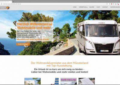 Startseite des Wohnmobilvermieters aus dem Münsterland: www.wohnmobile-und-mehr.de - Slider zeigt Wohnmobil.