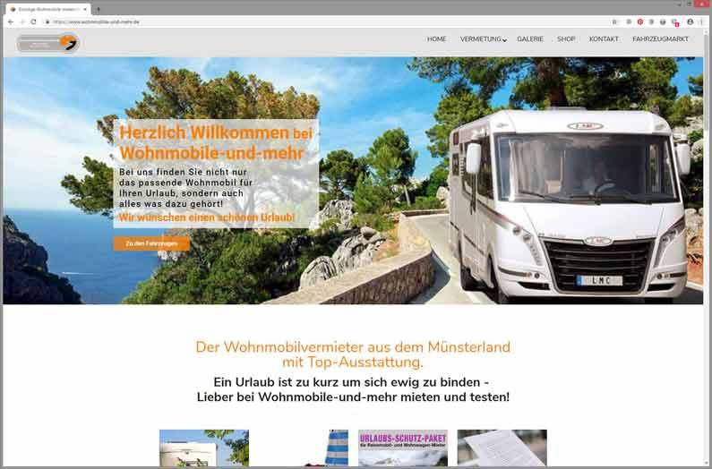 Seite einer Wohnmobilvermietung optimiert und auf neueste Version gebracht