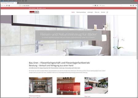 Bau-Eren Website eines Fliesenfachgeschäfts mit Fliesenausstellung. Zeigt Bad, Eingangstür und Küche mit Fliesen