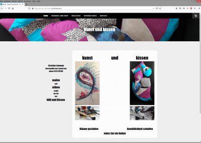 Die neue Website https://kunst-und-kissen.jimdofree.com/ für Gemälde und Kissen, die zusammen eine Einheit darstellen