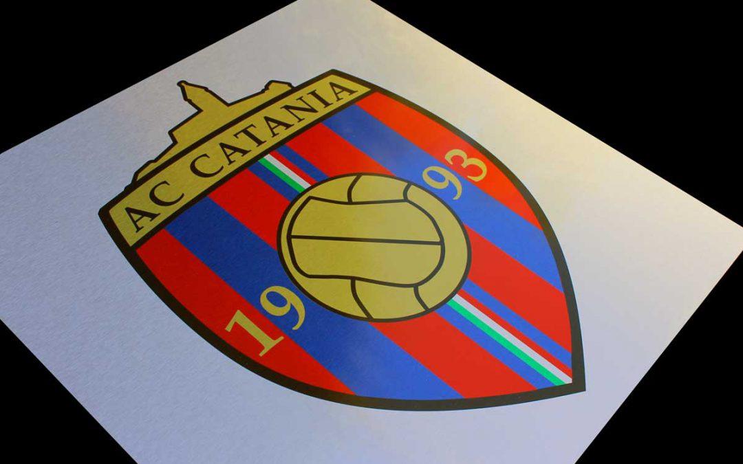 Aluverbundschild gebürstet für den Fußballverein AC Catania aus Kirchheim unter Teck