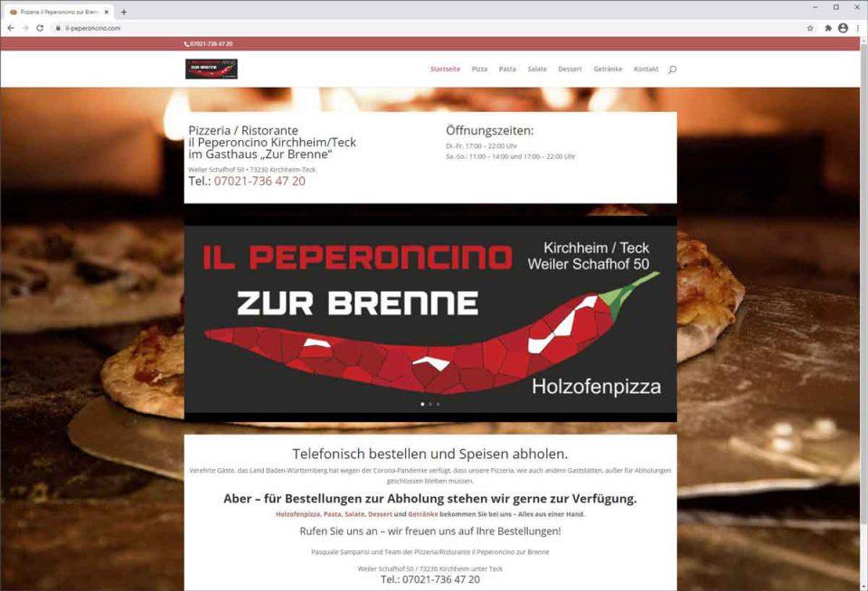 Pizzeria il-Peperoncino.de zur-Brenne. Startseite der Website mit Logo und Banner