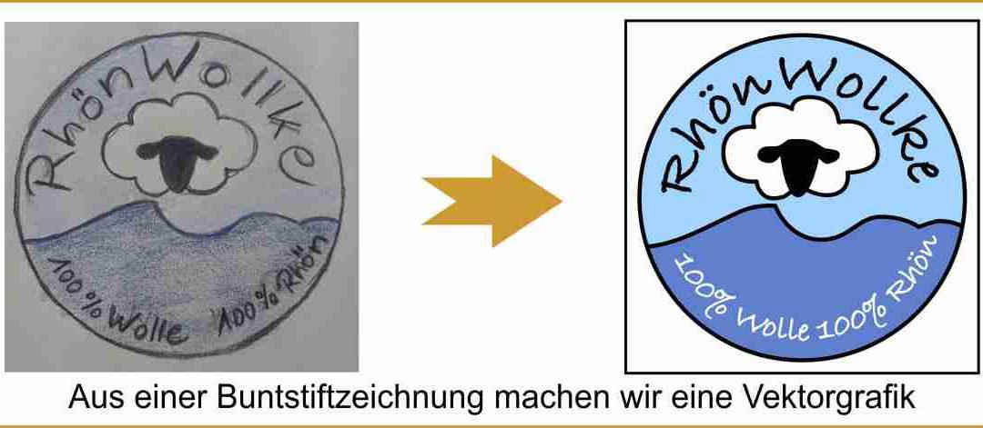 Logo aus Buntstiftzeichnung in Grafik umgewandelt